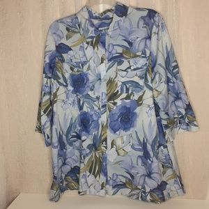 Caribbean Joe island Supply Co. Floral Blouse
